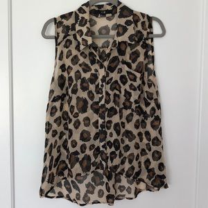 Sleeveless Leopard High Low Blouse